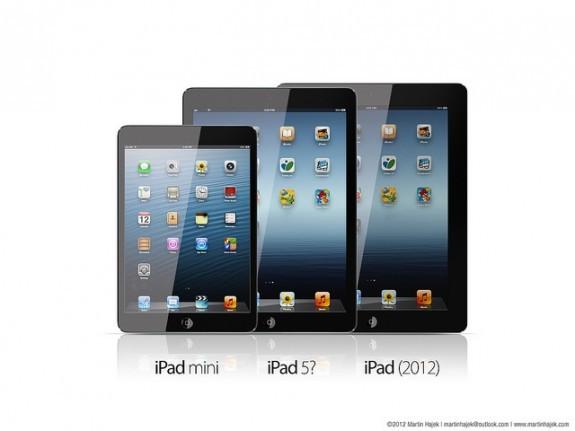 Hajek's mock-up showing difference between iPad mini, iPad 5, and iPad